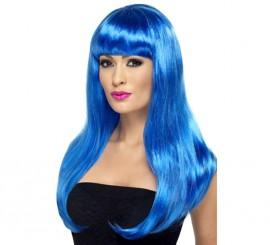 Peluca Melena Larga Lisa color Azul Neón o Fluorescente
