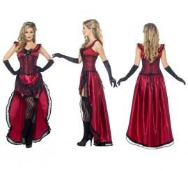 Disfraz Chica de Saloon color Burdeos para mujer