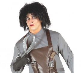 Peluca Negra de Hombre de las Tijeras para Halloween