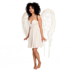 Alas de Ángel grandes de color blanco roto de 120x100 cm