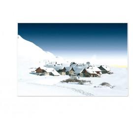 Fondo PVC pueblo nevado de 60 x 100 cm.