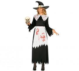 Disfraz de Bruja de Salem con sangre para mujer