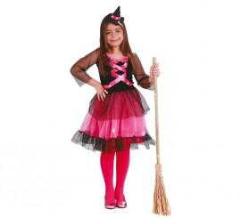 Disfraz de Brujita rosa para niña