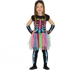 Disfraz de Esqueleto Tutú multicolor para niña