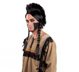 Peluca cresta de Indio Antinanco negra con trenzas