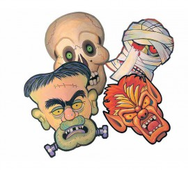 Blister de 4 Máscaras de Terror infantiles de cartón