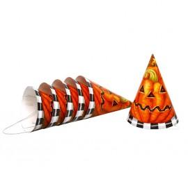 Blister de 6 Sombreros Calabaza de cartón para Halloween
