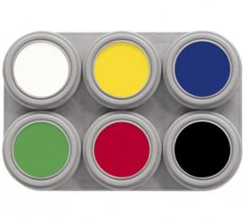 Maquillaje al agua paleta de 6 colores de 2,5 ml.
