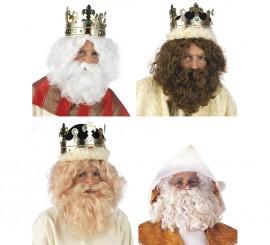 Peluca y Barba Rey Mago o Papá Noel varios Colores
