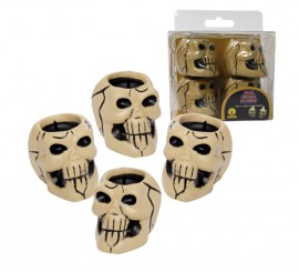 Pack de 4 velas Calaveras de cerámica Halloween