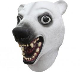 Máscara de oso blanco o polar de látex