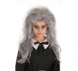 Peluca Melena larga gris despeinada
