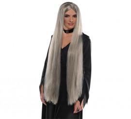 Peluca extra larga lisa de bruja color gris