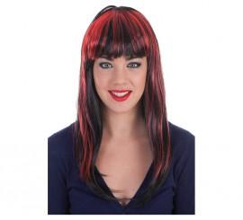 Peluca Melena negra con mechas Rojas y Negras
