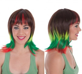 Peluca Castaña con mechas Tricolores