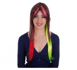 Peluca Melena castaña con mechas de colores