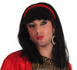 Peluca Melena Flequillo Morena