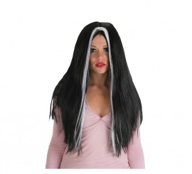 Peluca Morgana negra larga con mechas blancas