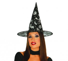Sombrero de Bruja negro con dibujos estampados