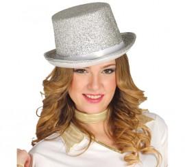 Sombrero de copa plateada Brillante