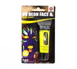 Tubo de maquillaje amarillo fluorescente de 10 ml.
