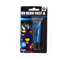Tubo de maquillaje azul fluorescente de 10 ml.