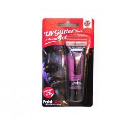Tubo de maquillaje glitter rosa chicle de 10 ml.