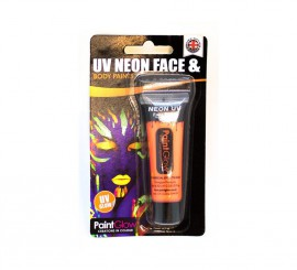 Tubo de maquillaje naranja fluorescente de 10 ml.
