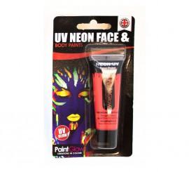 Tubo de maquillaje rojo fluorescente de 10 ml.