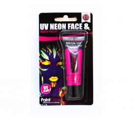 Tubo de maquillaje rosa fluorescente de 10 ml.