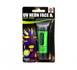 Tubo de maquillaje verde fluorescente de 10 ml.