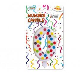 Vela Puntitos de colores con el número 0.