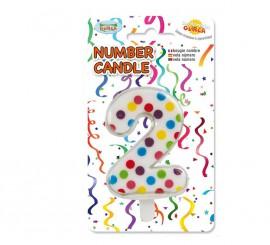Vela Puntitos de colores con el número 2.