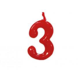 Vela roja con el número 3 para cumpleaños