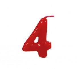 Vela roja con el número 4 para cumpleaños