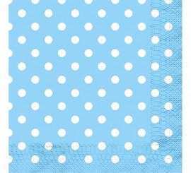 12 Servilletas Celestes con Topos Blancos de 33x33 cm