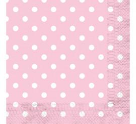 12 Servilletas Rosa con Topos Blancos 33x33