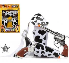 2 Pistolas con Cartucheras estampado de Vaca y Estrella