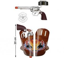 2 Pistolas con Cartucheras y Estrella 20 cm
