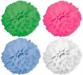 2 Pompones de papel de 42 cm de diámetro en varios colores