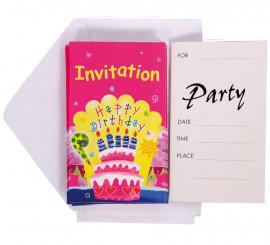 6 Invitaciones Happy Birthday con Sobre