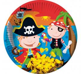 6 Platos de Piratas de 22 cm