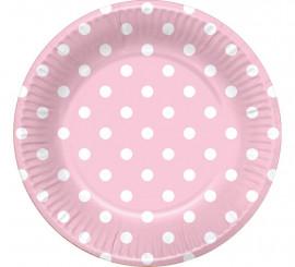 6 Platos Rosas con Topos Blancos 22 cm