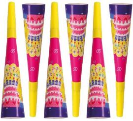 6 Trompetas Happy Birthday de 20 cm