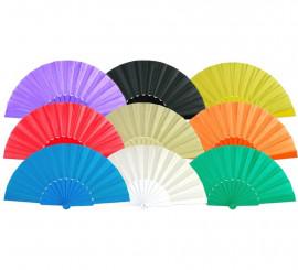 Abanico de plástico liso en varios colores