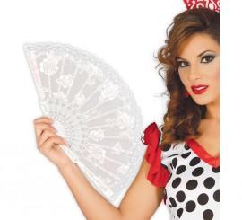 Abanico Flamenco blanco 23 cm