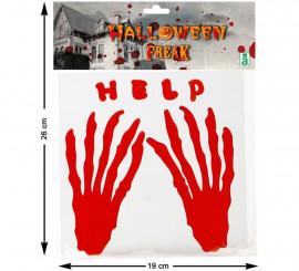 Adhesivos con relieve Mano Sangrienta y Help 19 cm