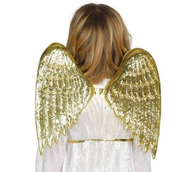 Alas de Ángel infantiles color oro 35 cm