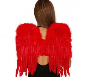 Alas rojas de plumas de 50 cm. para Halloween