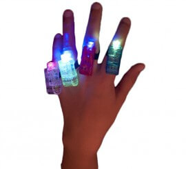 Anillos con luz en colores surtidos 4 unidades